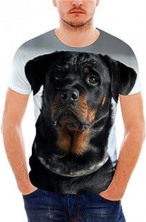 Hiuwa Unisex 3D T-Shirt Short Sleeve Rottweiler Dog Print Breathables O-Neck