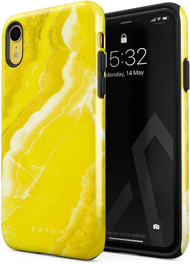BURGA Phone Case Compatible with iPhone XR - Neon Yellow Marble Citrus Stone Summer Vibes Vivid Bright Cute Case for Girls Heavy Duty Shockproof Dual Layer Hard Shell + Silicone Protective Cover