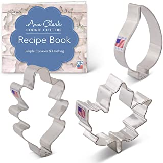 Ann Clark Cookie Cutters 3-Piece Fall Leaves Cookie Cutter Set with Recipe Booklet, Maple, Oak and Teardrop Leaf