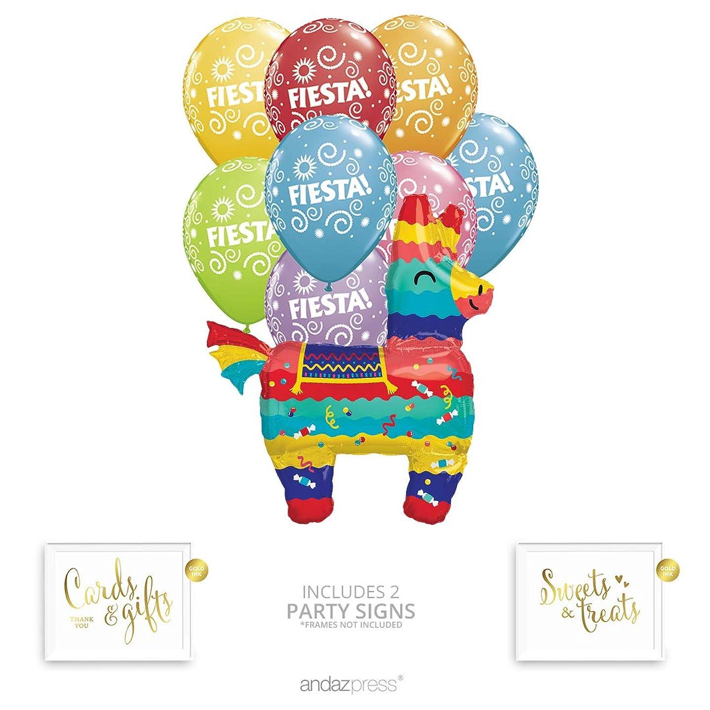 Andaz Press Fiesta Pinata Shape Balloon Bouquet Set, Cinco de Mayo Party Supplies, Inflatable Foil Pinata and Fiesta Latex Balloons, Bulk Balloon Kits for Mexican Fiesta Party Decorations
