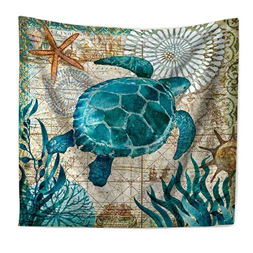 Tapestry Wall Hanging, Marine Life Turtle Wall Tapestry, Indian Hippie Bohemian Tapestry, Wall Art Decoration for Bedroom Living Room Dorm 59