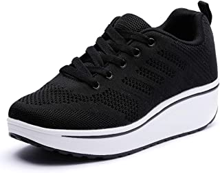 Kauneus Womens Mesh Wedges Platform Sneakers Slip Resistant Lace Up Athletic Gym Shoes Comfy Thick Bottom Shake Shoes