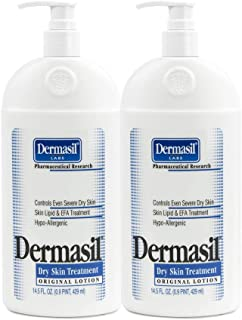 Dry Skin Body Moisturizing Lotion | Full Body Lotion & Face Protection for Soothing & Softens | Dermasil Labs Dermatologists Recommended Treatment Pump Cap Bottle (Dry Skin 14.5 OZ - Pack of 2)