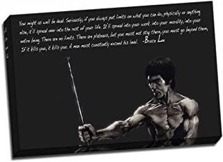 Panther Print Bruce Lee Canvas Inspiration Qoute 2 Print Poster Large 30X20 Inches A1