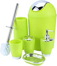 House Of Quirk Bathroom Accessories Set 6Pc Toothbrush Holder, Rinse Cup, Soap Dish, Hand Sanitizer Bottle, Toilet Brush With Holder - Green