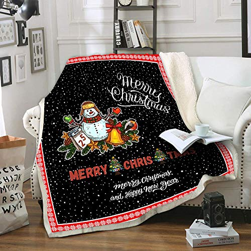 "LIASOSO Christmas Throw Blanket for Kids Children, Super Soft Cozy Warm Flannel Plush Holiday Throw Blanket, Anti-Static No Fading Durable Toasty Microfleece Sherpa Winter Bedding Blanket (60""x80"")"