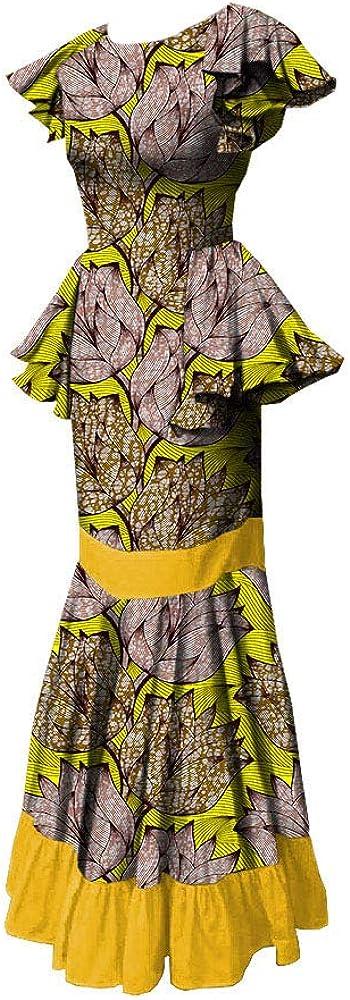RealWax African Print メーカー直送 Dress 与え for Attire Ankara Women Ruffles Appa