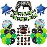PHOGARY Decoración de Cumpleaños de Niño, Suministros para Fiestas Temáticas de Videojuegos: Banner de HAPPY BIRTHDAY, 35 piezas de Globos Temáticos Gamer y 11 piezas Adornos para Pasteles