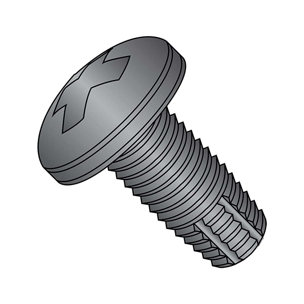 Steel Thread Cutting Screw, Black Oxide Finish, Pan Head, Phillips Drive, Type F, #10-32 Thread Size, 3/4