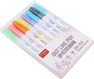 🍀Libobo🍀8pc/Set Glitter Marker Pens Contour Color Fluorescent Markers Metal Color Pens Double Line Contour Kids Paint Pens Gift