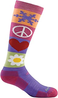 Darn Tough Merino Wool Ski Peace Love Snow Over-The-Calf Padded Cushion Sock - Junior's