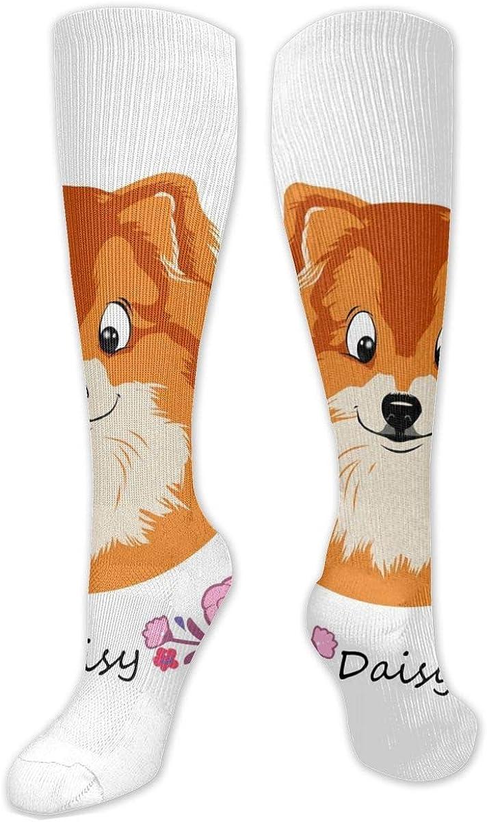Cute Cartoon Pomeranian Dog Knee High Socks Leg Warmer Dresses Long Boot Stockings For Womens Cosplay Daily Wear