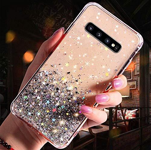Herbests Kompatibel mit Samsung Galaxy S10e Handyhülle Glänzend Bunt Strass Sterne Glitzer Weich Silikon Hülle Ultra Dünn Crystal Clear Handytasche Durchsichtige Schutzhülle Case,Klar