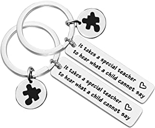 Autism Awareness Keychain,Appreciation Graduation Gifts for Teacher Jewelry Gift Speech Language Pathologist Thank You Gift It Takes A Special Teacher to Hear What A Child Cannot Say(2 Pack)