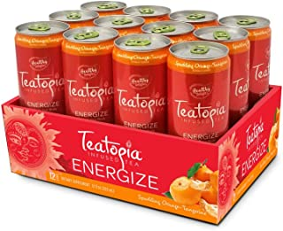 Teatopia Sparkling Functional Tea Energize, Natural Caffeine with B – Vitamins, Orange Tangerine Flavor, 12 Ounce, Pack of 12