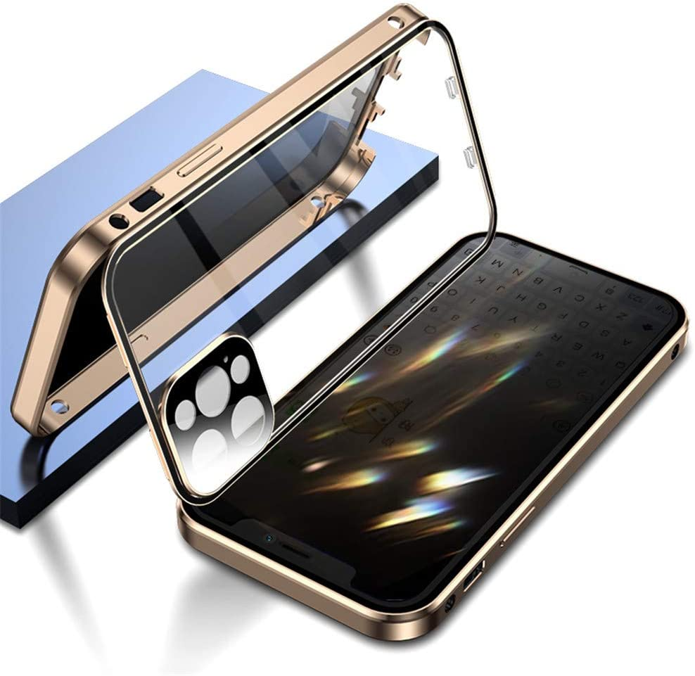 Double Safety Lock Anti-Peeping Case for iPhone 11 Pro Aluminium Bumper Case with Camera Lens Screen Protector Full Body Protection Metal Frame Clear Glass Cover (11Pro, Gold)