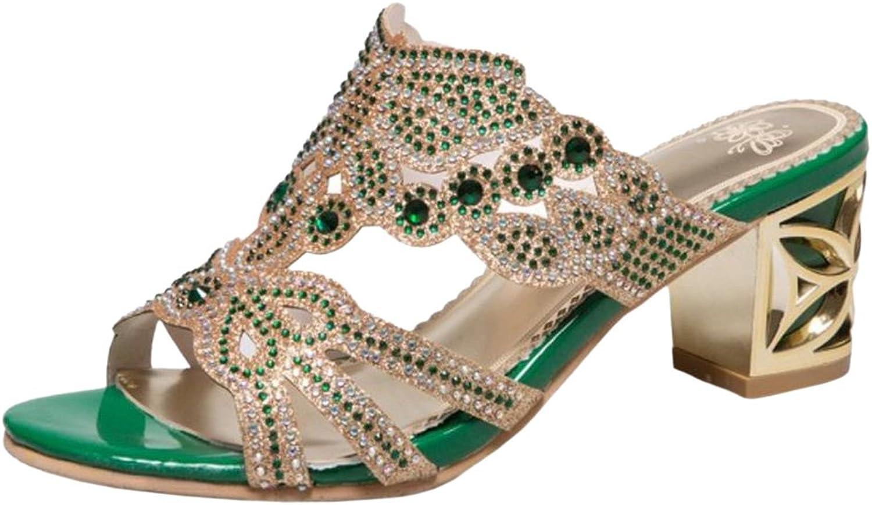 TAOFFEN Women Sparkly Heels Mules Sandals