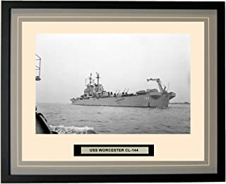 Navy Emporium - USS Worcester CL-144 - Framed - Photo - Engraved Ship Name - Double Mat - Photograph - 16 X 20-26CL144Grey