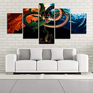 QJXX Paintings Wall Art 5 Panel Set HD Picture Poster Prints On Canvas Cartoon Dragon Ball Z Painting Decor Canvases Print Giclee Artwork Living Room Office Home Decor