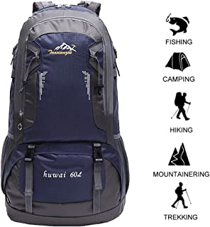 60 L Waterproof Lightweight Climbing Fishing Backpack Hiking Daypack,Internal Frame Backpack,Handy Foldable Camping Outdoor Backpack Bag with a Rain Cover