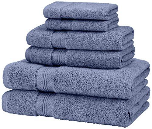 Amazon Brand – Pinzon 6 Piece Pima Cotton Bath Towel Set - Royal Blue