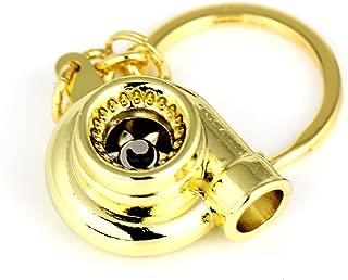 Maycom Spinning Turbo Keychain Keyring Turbocharger Turbine Key Chain Ring Keyrings (Gold)