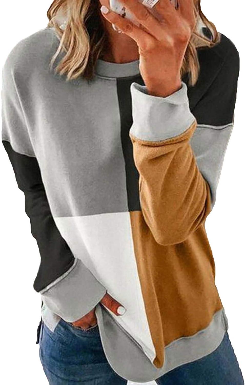 store ZKESS Overseas parallel import regular item Womens Color Block Striped Round Sleeve Sweatshi Long Neck