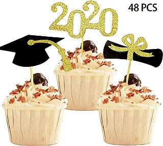 YuBoBo 2020 Graduation Cupcake Toppers, Food/Appetizer Picks for Graduation Party Mini Cake Decorations, Diploma, 2020, Grad Cap Set 48 Pieces (Graduation)