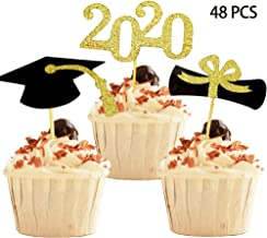 YuBoBo 2020 Graduation Cupcake Toppers, Food/Appetizer Picks for Graduation Party Mini Cake Decorations, Diploma, 2020, Grad Cap Set 48 Pieces (Graduation)