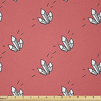 Ambesonne Abstract Art Fabric by The Yard Tattoo Style Crystal Like Rays Children Hipster Geometric Illustration Stretch Knit Fabric for Clothing Sewing and Arts Crafts 3 Yards Dark Coral White
