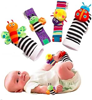 Baby Rattle Wrist Rattle Foot Finder Socks Set, Cute Animal Soft Cotton and Plush Stuffed Newborn Infant Toddler Toys-Show...