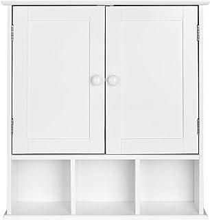 Homfa Armario de Pared Armario para Cocina Baño con 2 Puertas 5 Compartimentos Blanco 56x13x58cm