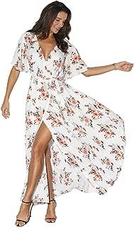 Women Wrap Maxi Dress Floral Short Sleeve Flowy Slit Tie Waist Summer Beach Party Wedding Dress