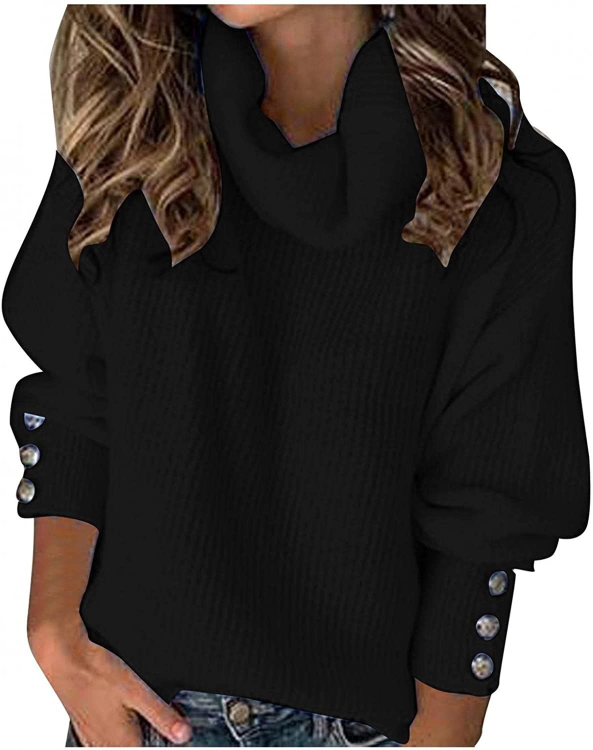 Gibobby Sweaters for Women Casual,Women's Long Sleeves Knitted Sweater Turtleneck Loose Pullover Soft Tops with Button