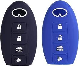 2Pcs XUHANG Sillicone key fob Skin key Cover Remote Case Protector Shell for Infiniti EX35 FX50 G35 G37 M45 QX56 FX50 M35 M56 QX60 QX80 Smart Remote 4 Button Blue Black