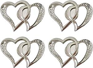 Mizhang Heart Shaped Knob 4 Pcs Creative Heart Shaped Arrow with Rhinestone Cabinet Pulls Drawer Wardrobe Closet Dresser Cupboard Home Hardware Furniture Decoration Handle (Silver)