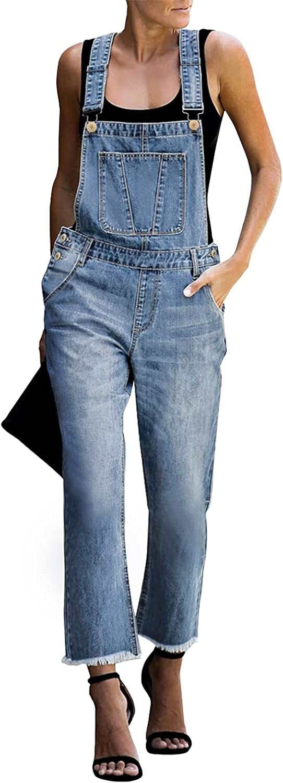 luvamia Women's Casual Stretch Adjustable Denim Bib Overalls Jeans Pants Jumpsuits