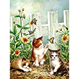 Lazodaer - Kit de pintura de diamantes 5D para adultos, kit de pintura de bordado de diamantes, decoración de pared para el hogar, tres gatitos 30 x 39,9 cm