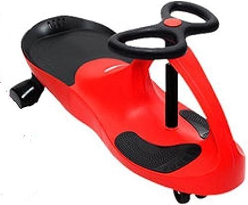 Dream voiture LED polyuréthane Roue Enfants Le rêve Wiggle Voiture a Conduit sur pneus à l'enfant pour l'intérieur extérieur (Rouge)