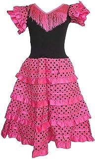 La Senorita Spanische Flamenco Kleid/Kostüm - für Mädchen/Kinder - Rosa/Schwarz - Größe 128-134 - Länge 85 cm/für 7-8 Jahr