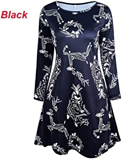 FDBZ Deer Snata Claus Print Long Sleeve O Neck Dress Autumn Winter Casual Loose Knee Length Dress 5XL|Dresses,330 Black,4XL