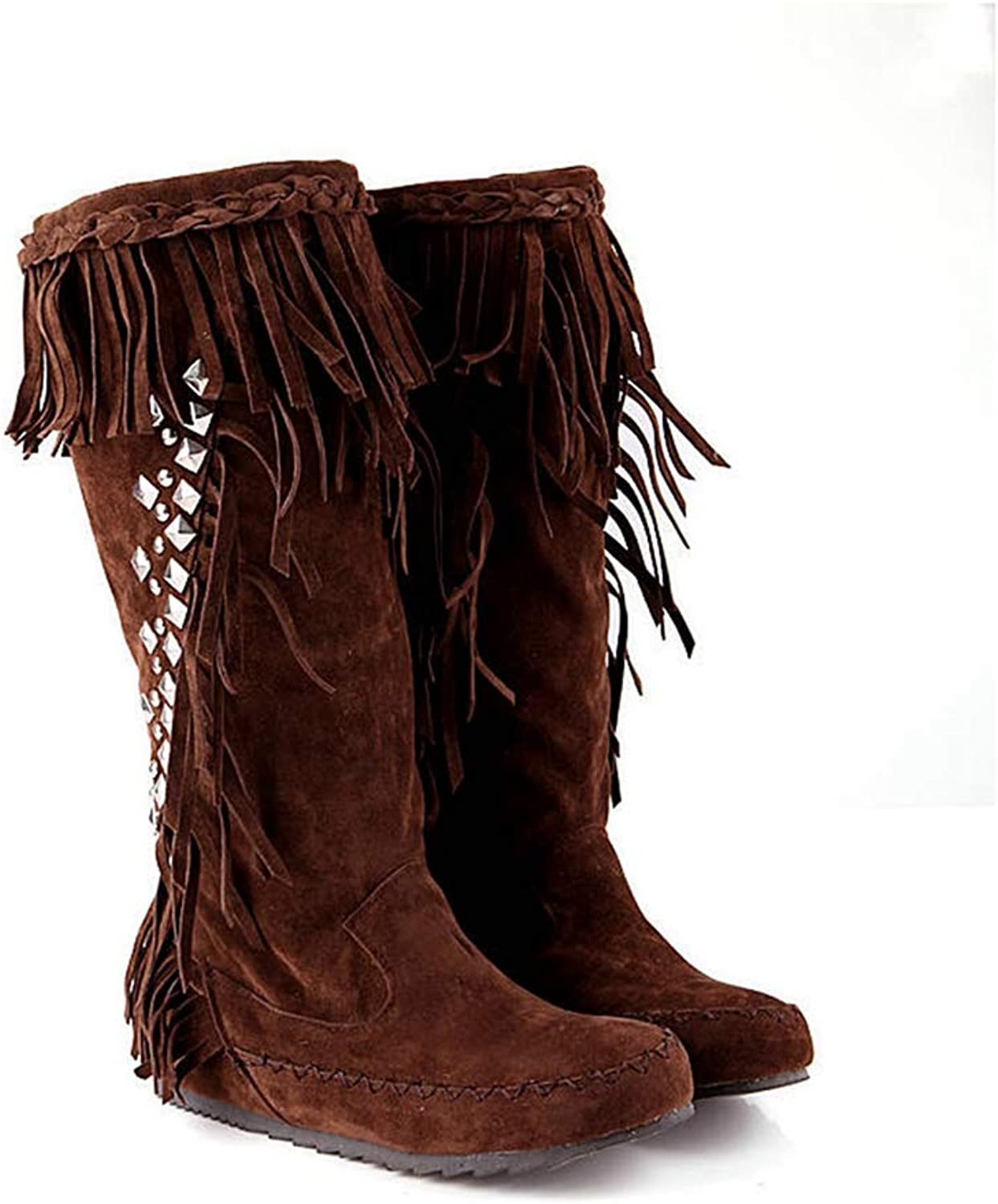 T-JULY Mid Calf Boots for Women Round Toe Tassels Autumn Winter Boots Comfortable Flat shoes Warm Fashion Boots