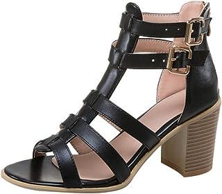 acf3b4b55e809a YOUJIA Femme Boucle Sandales Romaines Spartiates Talon Bloc Chaussures de  Gladiateur