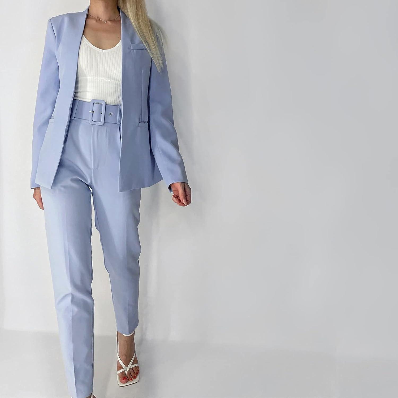 JJWC Women's Office Suit Fashion Blazer Pantsuit Simple Solid Color Suit Collar Long Sleeve + Trousers 2 Piece Set (Color : Blue, Size : L Code)