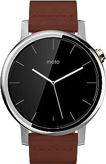 Motorola Moto 360 (2nd Gen.) - Mens 42mm, Silver with Cognac Leather