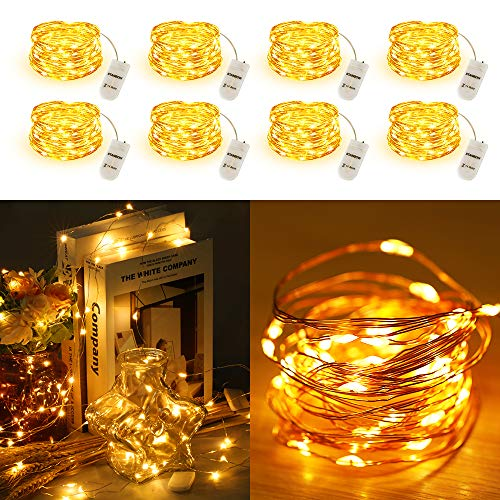 Led Lichterkette Batterie STANBOW 2M Micro Kupferdraht Lichterketten Batteriebetrieben für Party, Garten, Weihnachten, Halloween, Hochzeit, Beleuchtung Dekor (8 Stücke/Warmweiss)