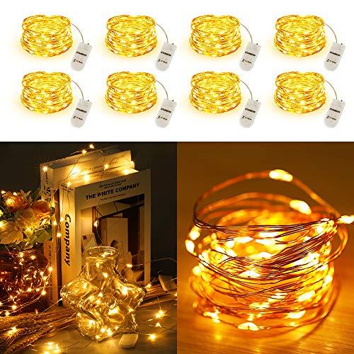 Led Lichterkette STANBOW 2M Micro Kupferlichterkette Batteriebetrieben für Party, Garten, Weihnachten, Halloween, Hochzeit, Beleuchtung Dekor (8 Stücke/Warm)