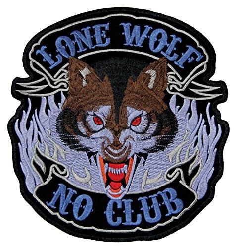 Lone Wolf No Club Biker Backpatch Rückenaufnäher XXL 22,5 x 24 cm