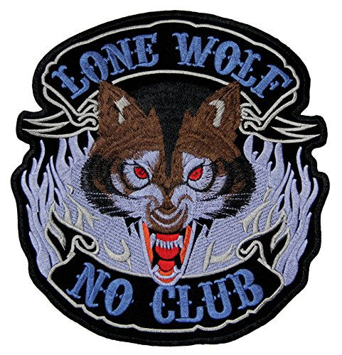 Lone Wolf No Club Biker Backpatch Rückenaufnäher XXL 22,5 x 24 cm