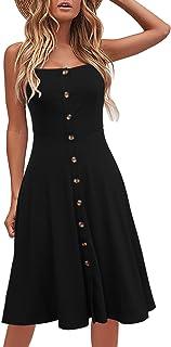 Women's Casual Beach Summer Dresses Solid Cotton Flattering A-Line Spaghetti Strap Button Down Midi Sundress